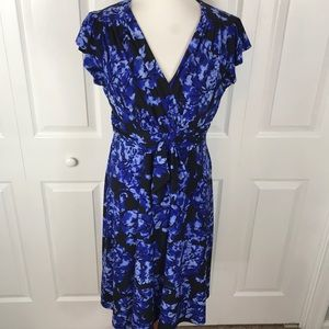 Evan Picone Dress Floral Cap Sleeve Dress Blue Bl